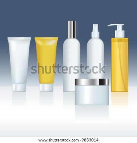 Vector cosmetic container templates for designers. Editable - stock vector