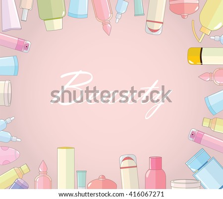 Vector Cosmetic Top View Frame Background Vector de stock416067271 ...