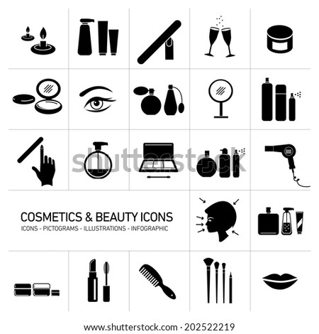 vector cosmetics, make-up and beauty icons set | flat design black illustrations and pictograms isolated white black background - stock vector