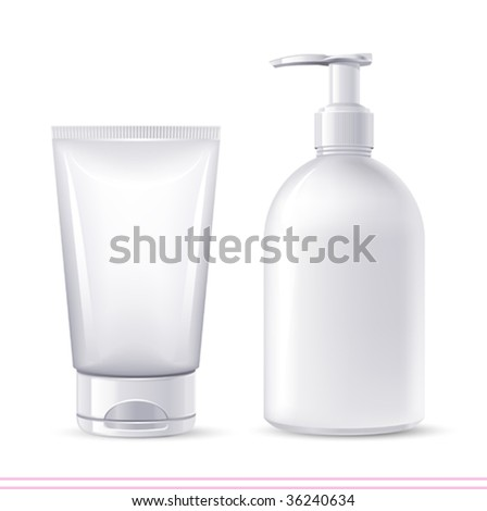 vector cosmetics soap and gel  containers - stock vector