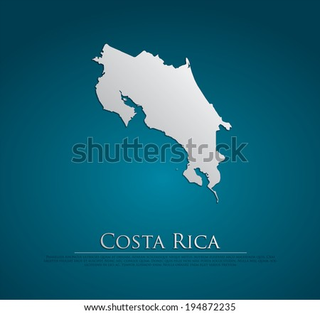 vector Costa Rica Map card paper on blue background, high detailed