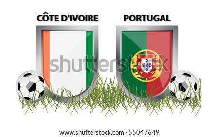 vector cote d´ivoire vs portugal - stock vector