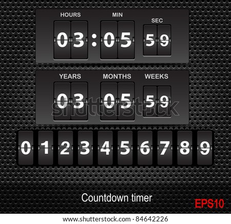 Vector countdown timer - easy change time - stock vector