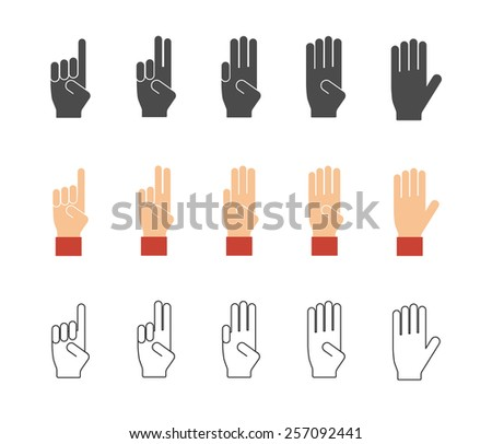 Vector  counting hands. Numbers hand gesture icons. Pictogram black silhouette, flat and outline - stock vector