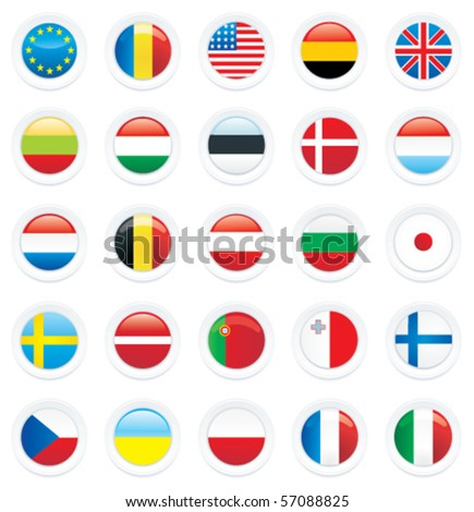 Vector country flag icon set - stock vector