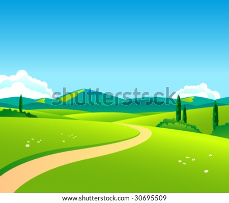 Vector countryside landscape by day - stock vector
