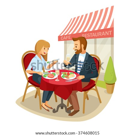 Vector couple having a dinner in street cafe - stock vector