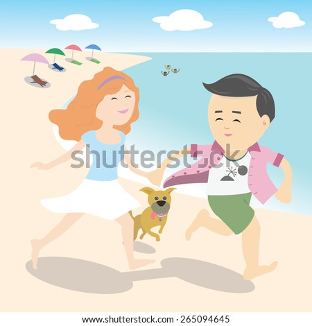 Vector couple holding hands and running by the sea with a dog - stock vector
