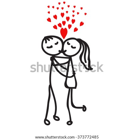 how to draw to stick people hugging