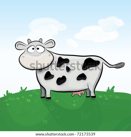 Vector cow in the field. Grouped and layered objects for easy editing. Available space for your text. - stock vector