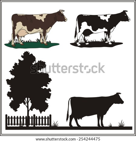 vector cow on a white background - stock vector