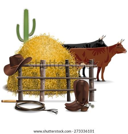Vector Cowboy Farming Concept - stock vector