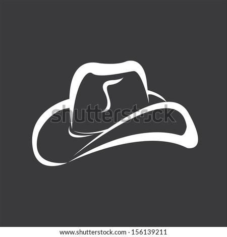 vector cowboy hat silhouette  - stock vector
