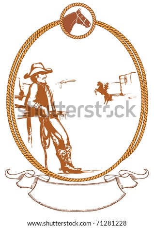 Vector cowboy poster background for design with rope frame - stock vector
