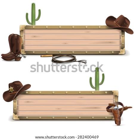 Vector Cowboy Signboards - stock vector