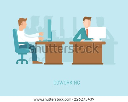 Vector coworking concept in flat style - illustration with people working at the computers in the open space office - stock vector