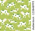 Vector cows on the field seamless pattern background with hand drawn elements. - stock vector