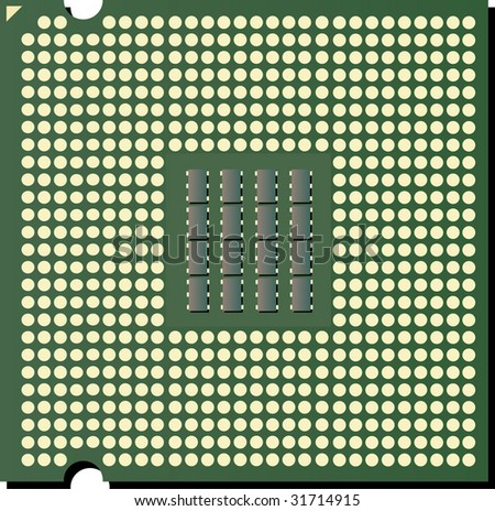 vector CPU chip - stock vector