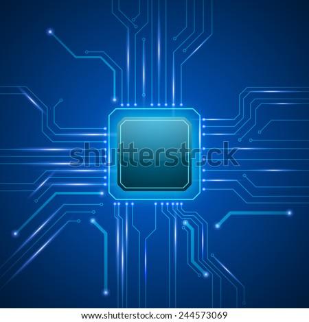 vector cpu computer technology, electronic concept.  - stock vector