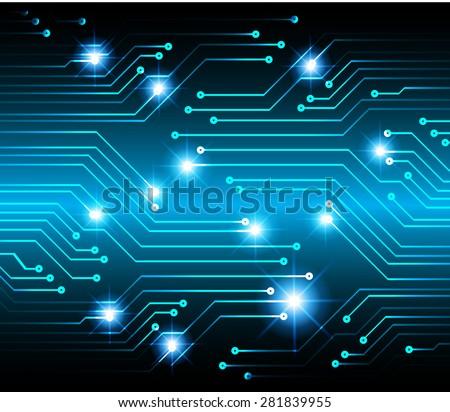 vector cpu computer technology, electronic concept. blue circuit board - stock vector