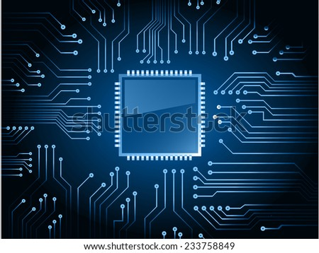 vector cpu computer technology, electronic concept. circuit board - stock vector