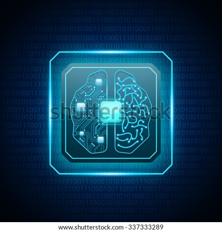 vector cpu computer with brain - stock vector