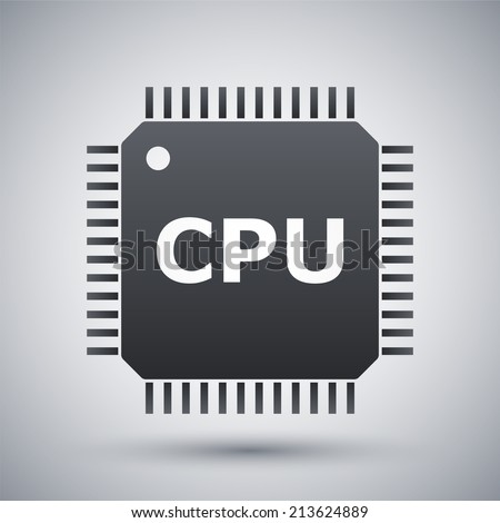 Vector CPU icon - stock vector