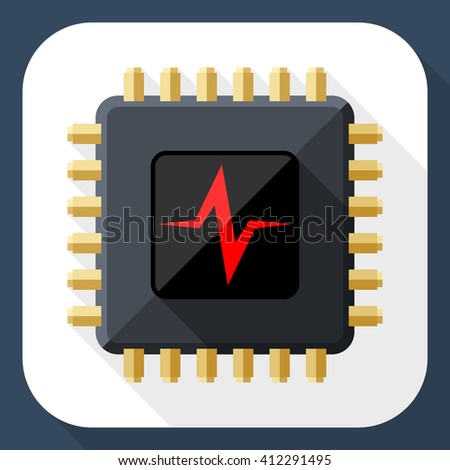 Vector CPU or Processor test icon. CPU or Processor test simple icon in flat style with long shadow