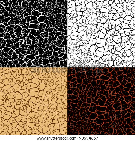Vector cracked set texture - stock vector