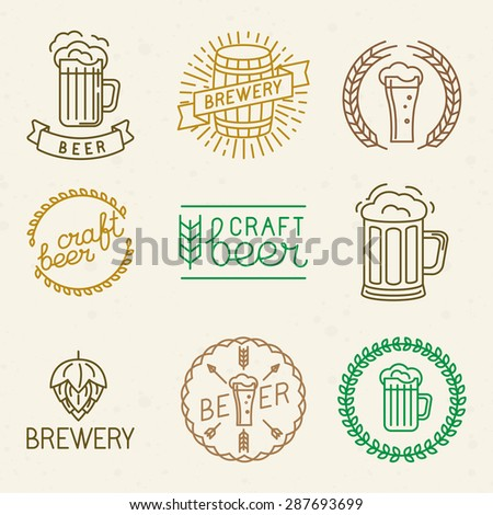Vector craft beer and brewery logos and signs in trendy linear style - mono line badges and emblems with text and lettering for beer houses,  pubs and  brewing companies - stock vector