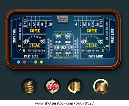 Vector craps table layout (big) - stock vector