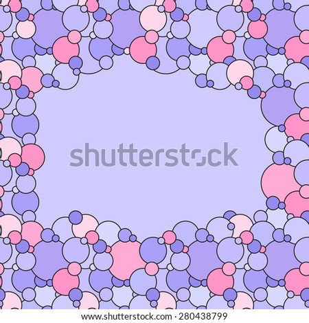Vector creative abstract background is of circular elements in pale pink, purple, violet and lilac colors - stock vector