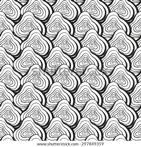 Vector creative abstract hand-drawn seamless pattern of smooth elements in black and white colors