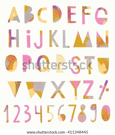 Vector Creative Alphabet and numbers - stock vector