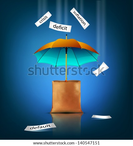 Vector creative background for business with an umbrella, bag, - stock vector