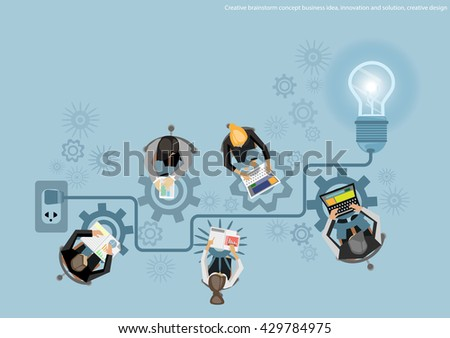 Vector Creative brainstorm concept business idea, innovation and solution, creative design flat design - stock vector