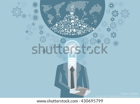 Vector creative business ideas. The global market with world and icons flat design - stock vector