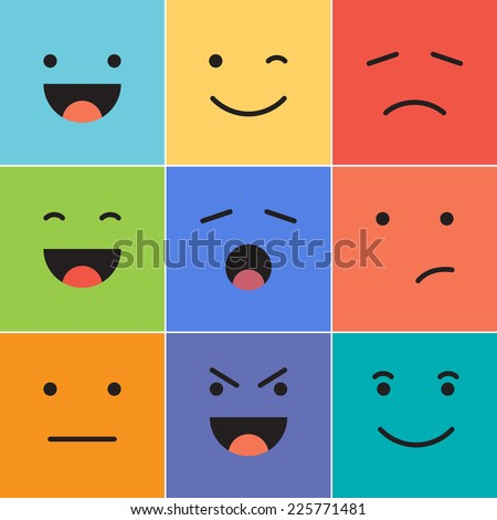 Vector creative cartoon style smiles with different emotions. - stock vector