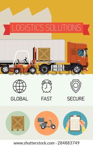 Vector creative concept design on logistics with forklift loading cargo into semi-trailer truck, line icons on global, fast, secure; circle icons on scooter, clipboard and wooden box - stock vector