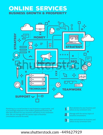 Vector creative concept illustration of graph business project with header, text on blue background. Online service poster template. Flat thin line art style design of business structure infographics - stock vector