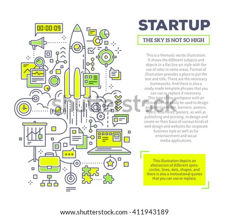 Vector creative concept illustration of startup with header and text on white background. Technology startup template. Hand draw flat thin line art style monochrome design for technology startup theme - stock vector