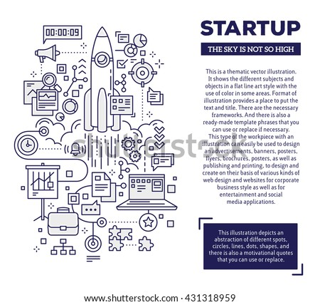 Vector creative concept illustration of startup with header and text on white background. Technology startup composition template. Hand draw flat thin line art style design for technology startup - stock vector