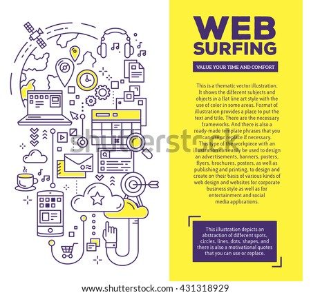 Vector creative concept illustration of web surfing with header and text. Web surfing composition template background. Hand draw flat thin line art style monochrome design for web surfing theme - stock vector