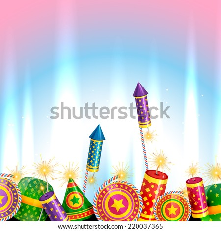 Vector creative design of diwali with crackers - stock vector