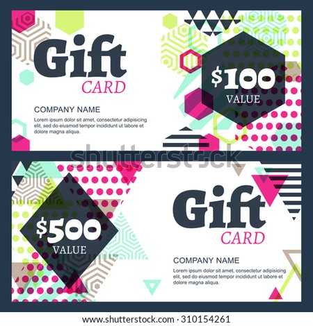 Vector creative gift voucher or card background template. Abstract colorful geometric pattern. Concept for boutique, fashion shop, accessorize, jewelry,  hotel, restaurant, flyer, banner design. - stock vector