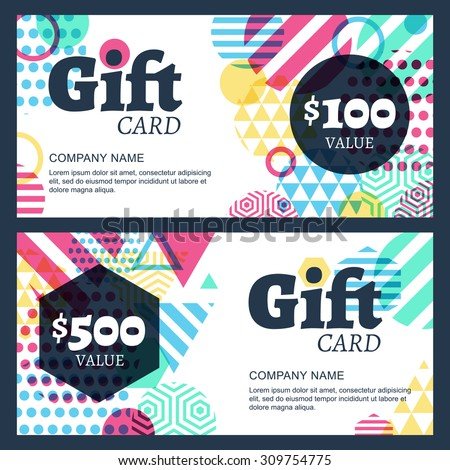 Vector creative gift voucher or card background template. Abstract multicolor geometric pattern. Concept for boutique, fashion shop, jewelry, accessorize, hotel, restaurant, flyer, banner design. - stock vector