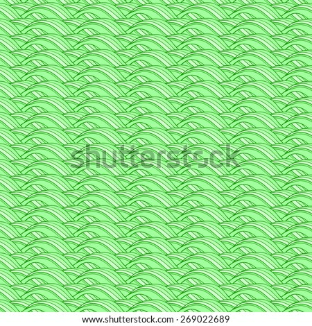 Vector creative hand-drawn abstract seamless pattern of curved elements in green and lime colors - stock vector
