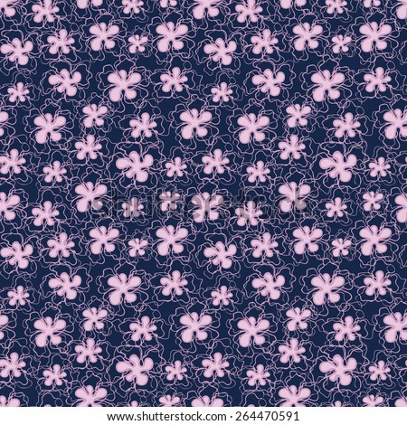 Vector creative hand-drawn abstract seamless pattern of stylized flowers in light pink tones on a dark blue backdrop - stock vector