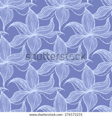 Vector creative hand-drawn abstract seamless pattern of stylized flowers in shades of cornflower blue colors