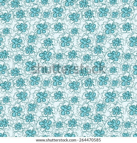 Vector creative hand-drawn abstract seamless pattern of stylized flowers in turquoise and light blue tones - stock vector